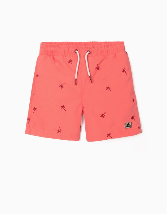 Embroidered Swim Shorts for Boys, Coral