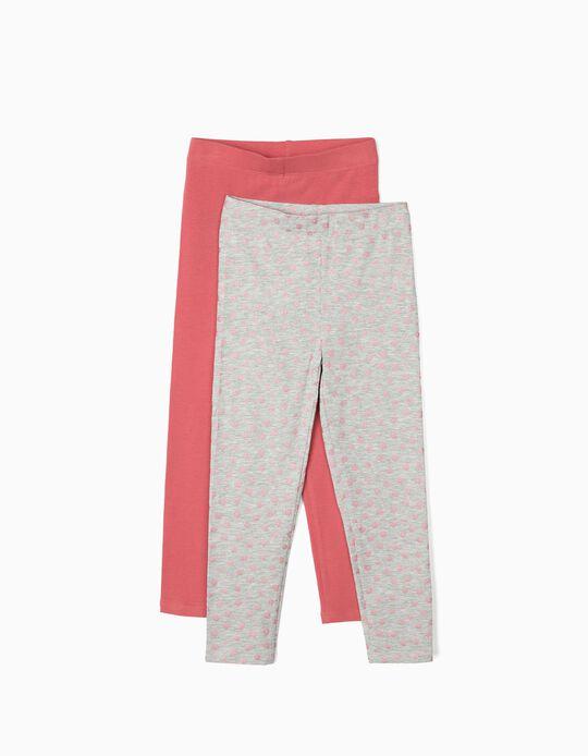 Pack 2 Leggings para Menina 'Flores', Cinza/Rosa