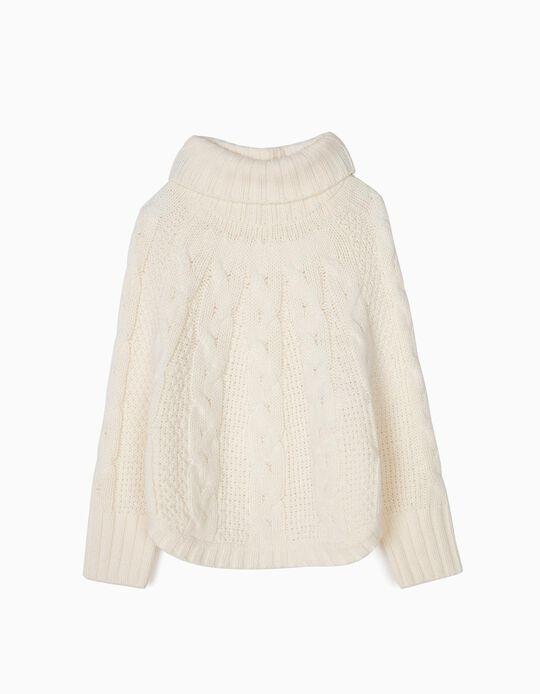 Camisola Poncho de Malha para Menina, Branco