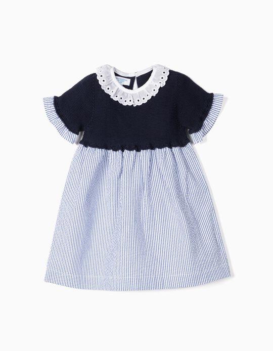 Robe bimatière bébé fille 'B&S' à rayures, bleu