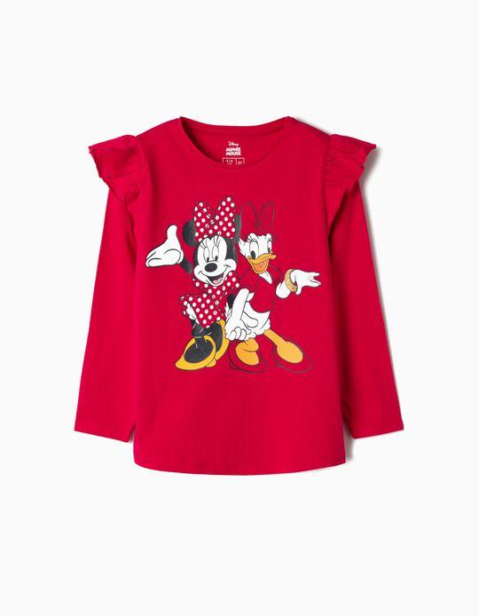 T-shirt Manga Comprida para Menina 'Minnie & Daisy', Rosa