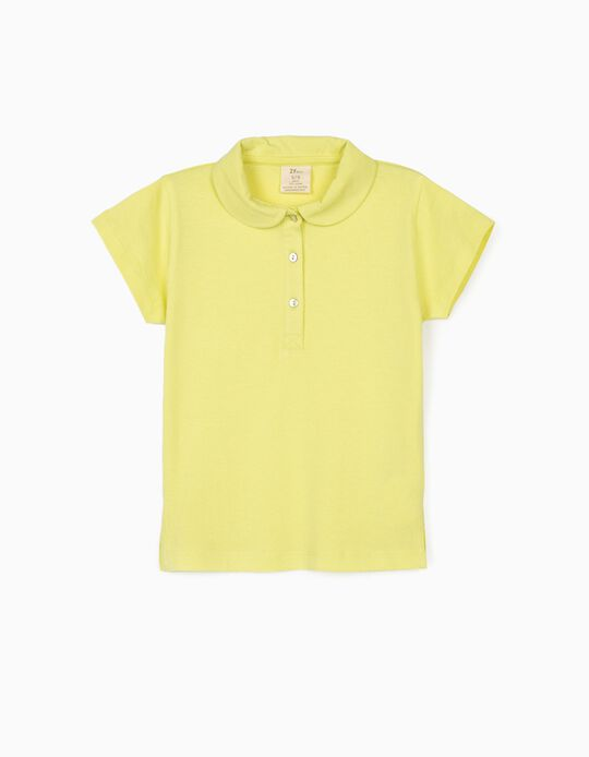 Short Sleeve Polo Shirt for Girls, Lime Yellow