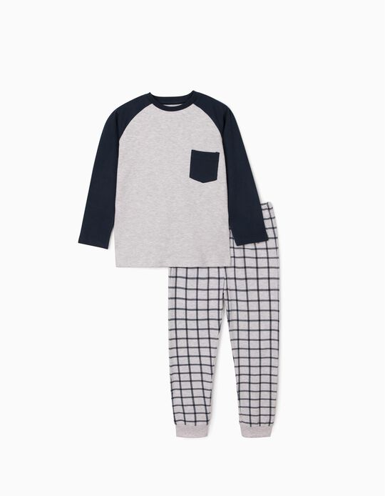 Pyjama for Boys, Grey/Dark Blue