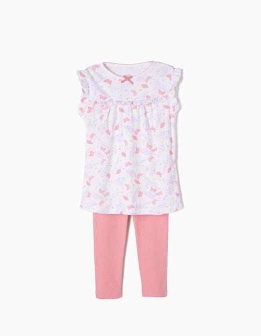 Pijama Manga Curta e Calças Borboletas