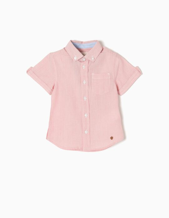 Camisa Manga Curta Riscas para Bebé Menino, Vermelho