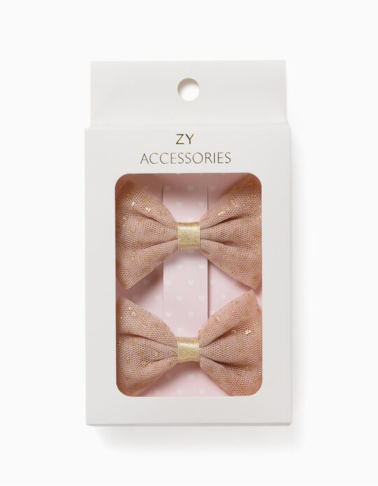 2 Horquillas del Pelo para Niña 'Glitter Bows', Doradas