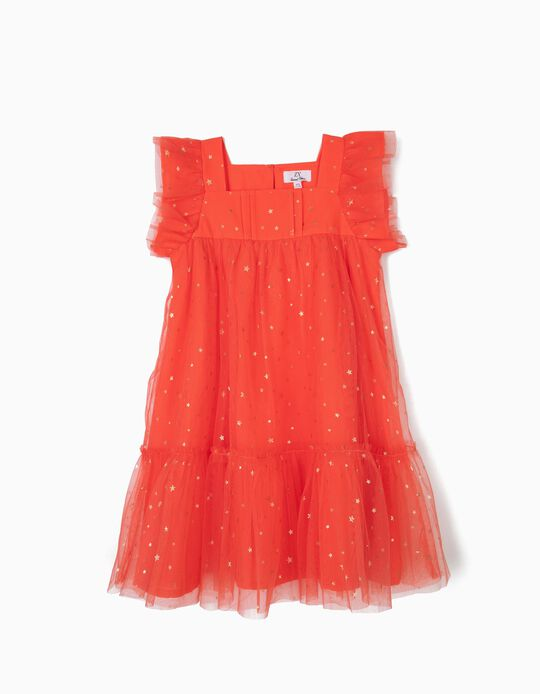 Vestido de Tule para Menina, Coral
