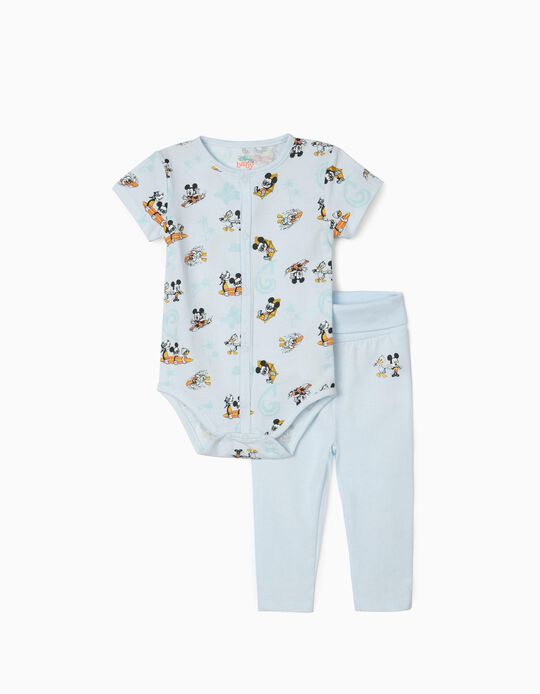 Bodysuit & Trousers for Newborn Baby Boys, 'Mickey Mouse & Friends', Light Blue