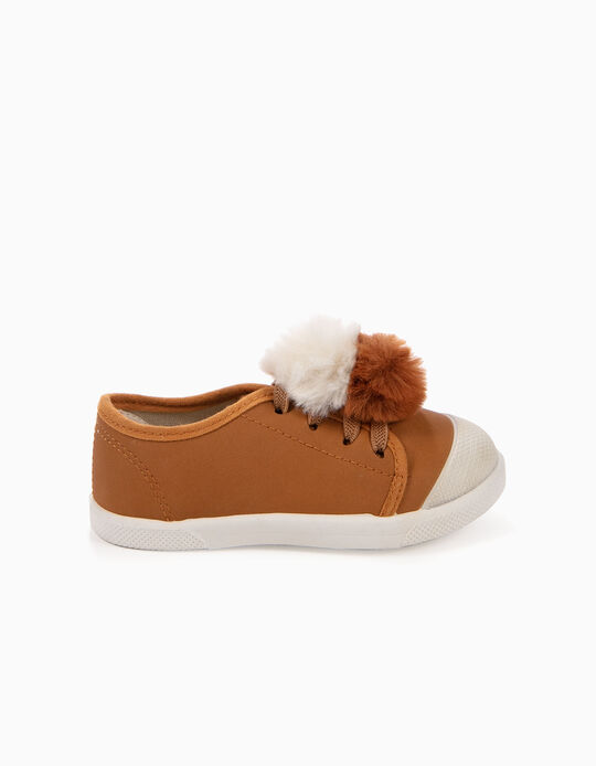 TRAINERS WITH POMPONS 'ZY SMELL', CAMEL