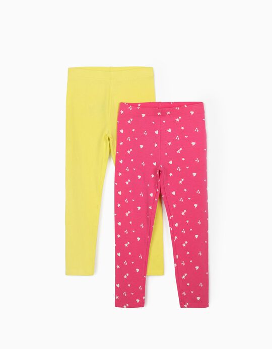 2 Pairs of Leggings for Girls, 'Hearts & Stars', Pink/Yellow