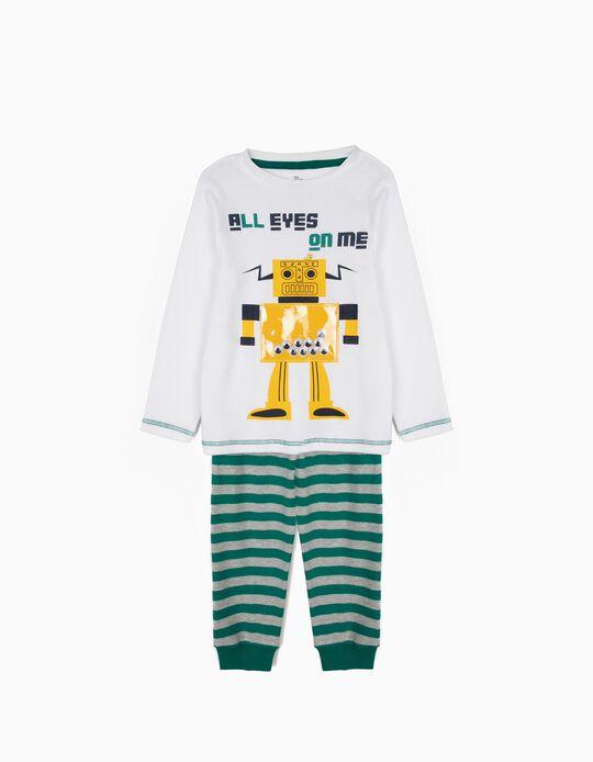 Pijama para Niño 'Robots' a Rayas de Manga Larga, Blanco y Verde