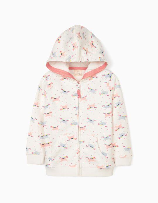 Hooded Jacket for Girls 'Unicorns', White