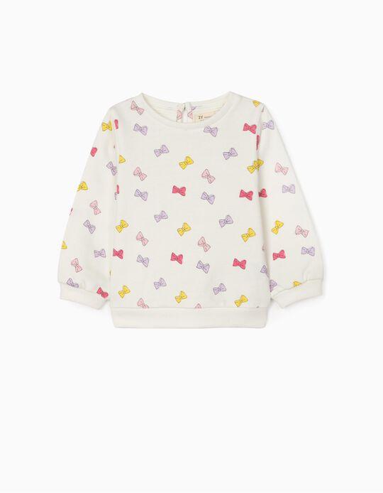 Sweatshirt for Baby Girls 'Bow', White