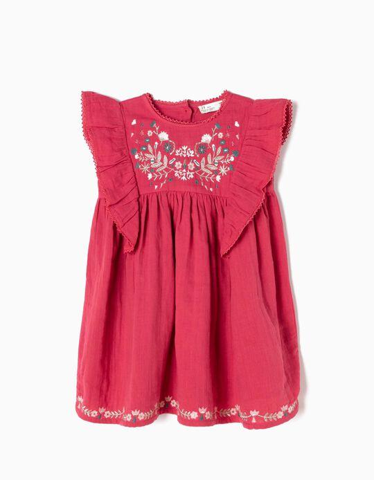 Vestido Bordados e Folhos Rosa