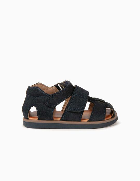 Sandálias de Pele para Bebé Menino, Azul Escuro