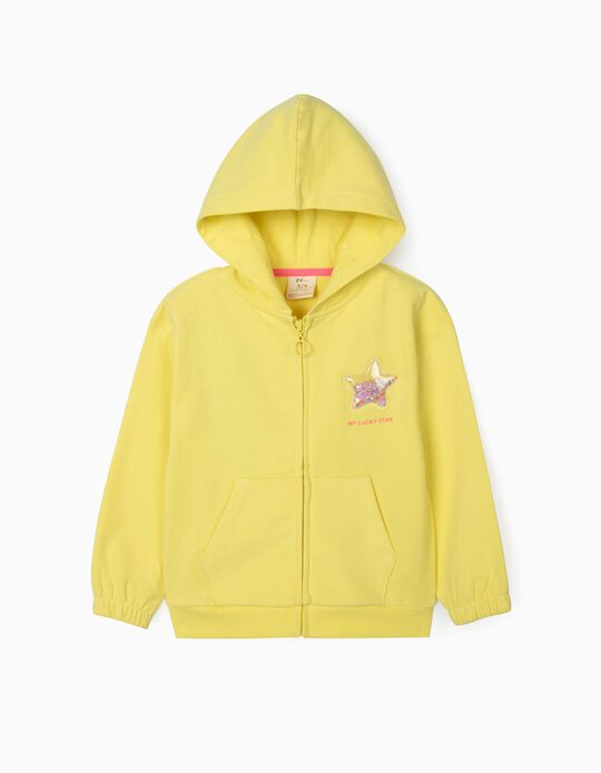 Hooded Jacket for Girls, 'Lucky Star', Yellow