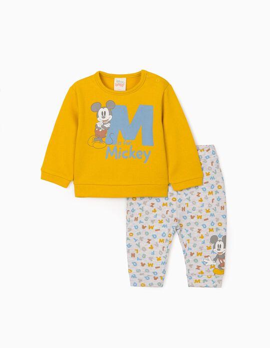 Ensemble 2 pièces pour nouveau-né  'Mickey', jaune/gris