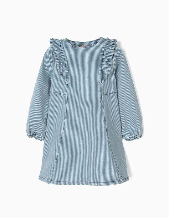 Vestido para Menina às Riscas, Azul