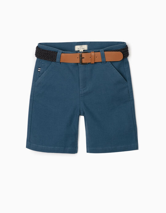 Dobby Shorts with Belt, for Boys, Blue