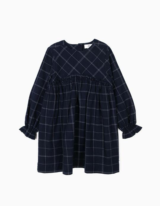Vestido para Menina Quadrados, Azul Escuro