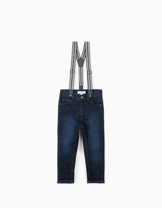 Denim Trousers with Braces, Blue