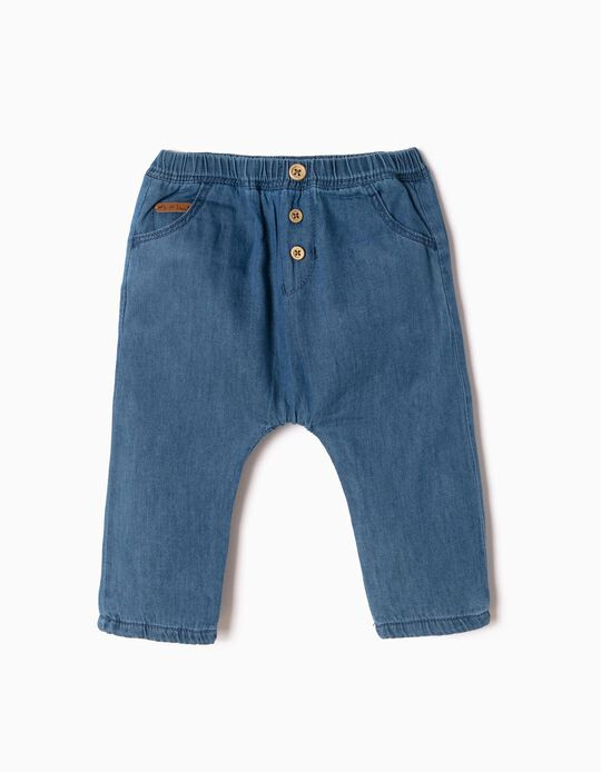 Pantalón Denim con Botones para Recién Nacido, Azul