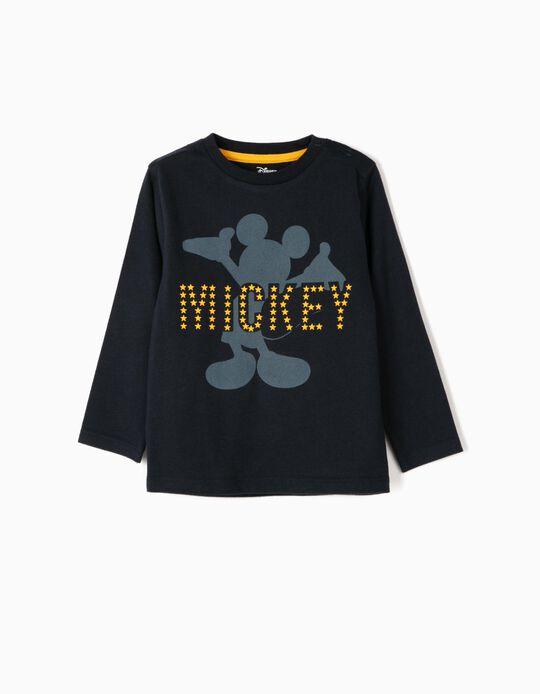 T-shirt Manga Comprida para Bebé Menino 'Mickey', Azul Escuro
