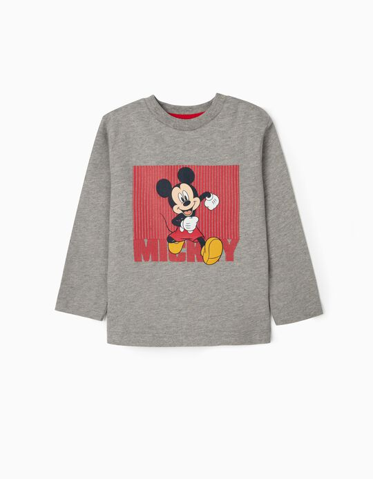 Long Sleeve Top for Baby Boys, 'Mickey', Grey