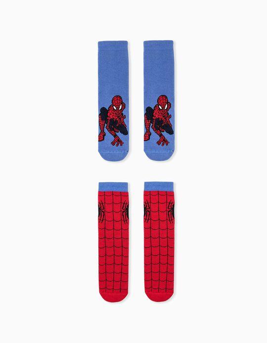2 Pairs of Non-Slip Socks for Boys 'Spider-Man', Blue/Red