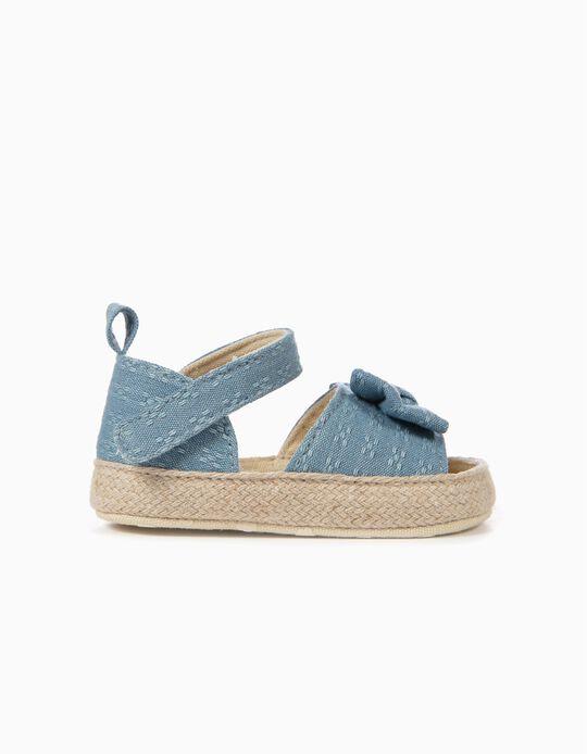 Sandálias para Recém-Nascida com Laço, Azul