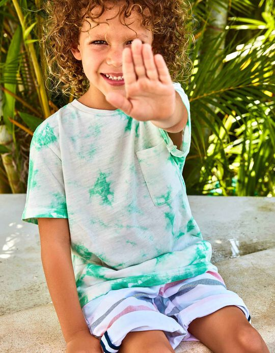 T-shirt para Menino 'Save The Oceans' com Tie-Dye, Verde