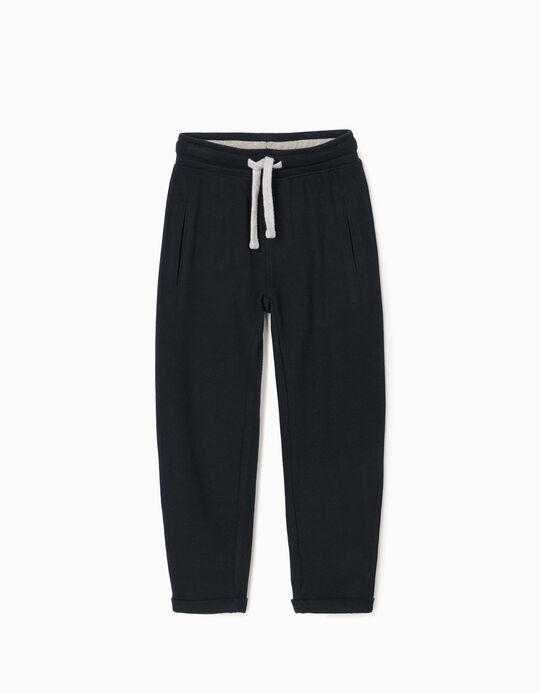 Piqué Knit Joggers for Boys, Dark Blue