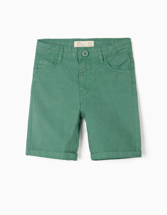 Short en sergé garçon 'Paper Touch', vert