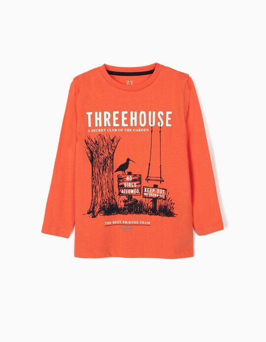 Long Sleeve Top for Boys, 'Treehouse', Coral