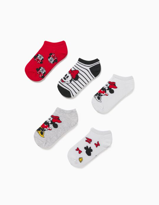 5 Pairs of Ankle Socks for Girls 'Minnie', Multicolour
