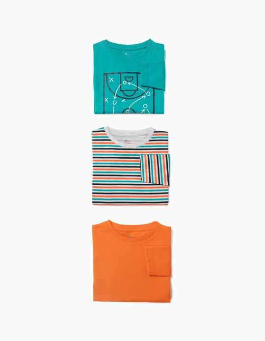 3 T-shirts Manga Comprida para Menino 'Sports', Multicolor