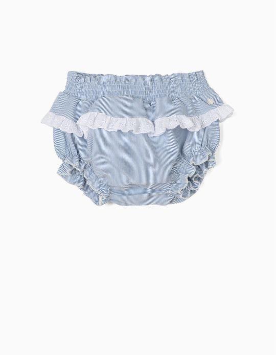 Calções Tapa-Fraldas para Recém-Nascida Riscas, Azul e Branco