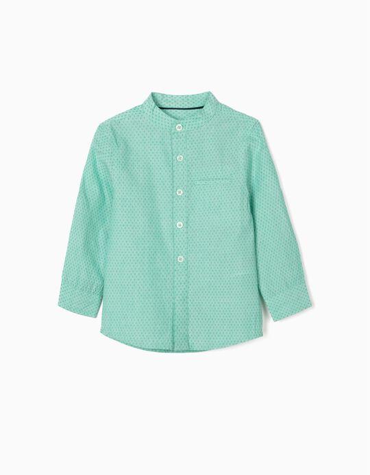 Shirt with Mandarin Collar for Baby Boys, Green
