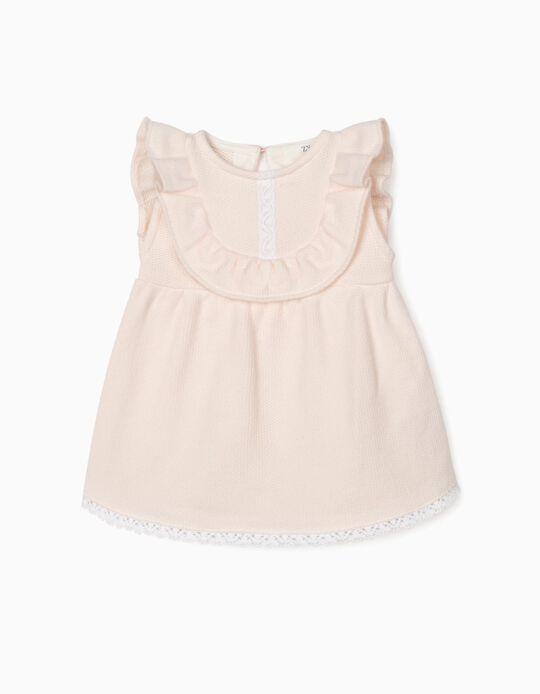 Knit Dress for Newborn Baby girls, Light Pink