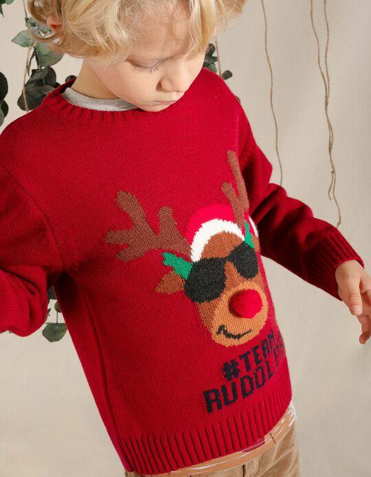 Camisola de Malha para Menino 'Team Rudolph', Vermelho