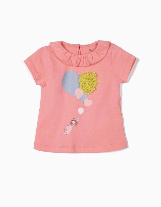 Camiseta para Bebé Niña 'Balloons', Rosa