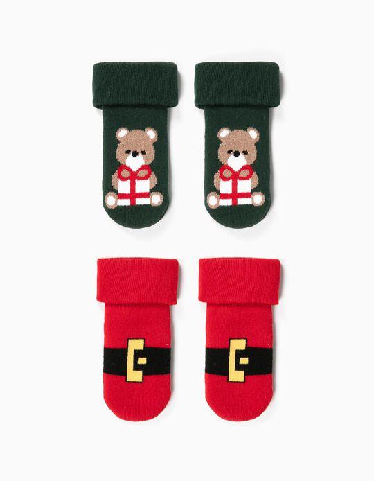 2 Pares de Calcetines Antideslizantes para Bebé 'Christmas', Verde/Rojo
