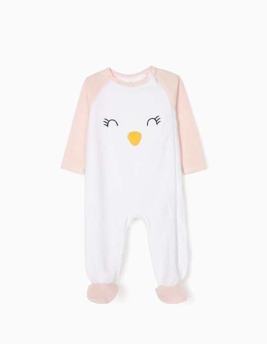Sleepsuit in Velour for Baby Girls 'Penguin', White/Pink