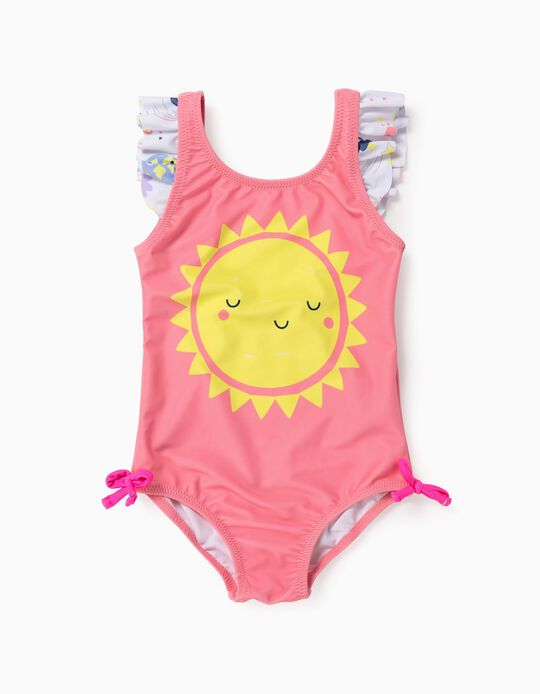 Swimsuit for Baby Girls, UV 60 Protection, 'Sun', Pink