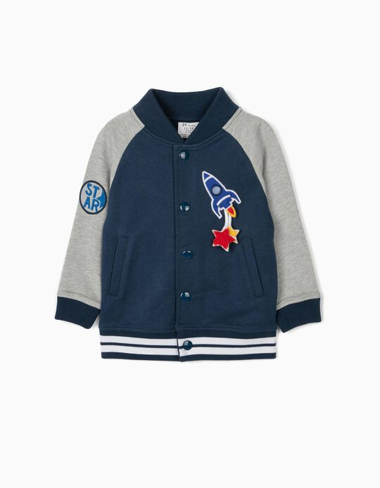 Casaco Bomber para Bebé Menino 'Rocket', Azul/Cinza