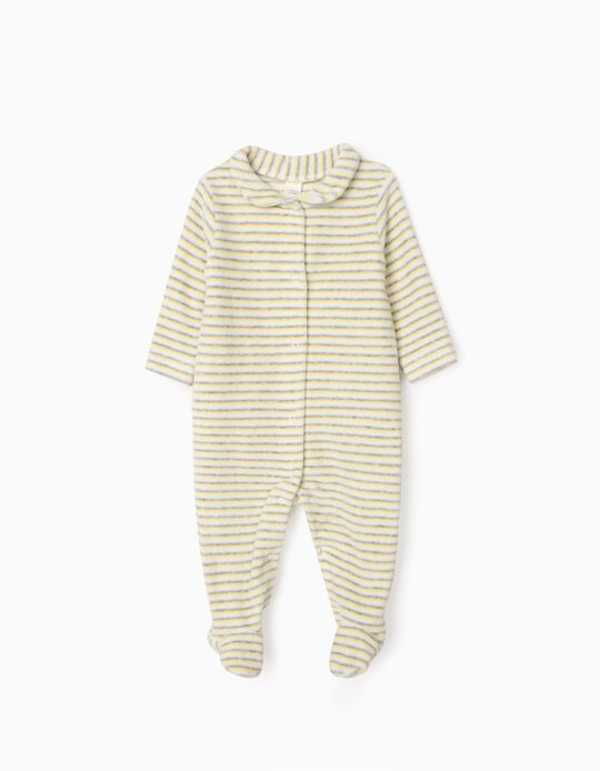 Velour Sleepsuit for Newborn Baby Boys, 'WH', White/Yellow/Grey