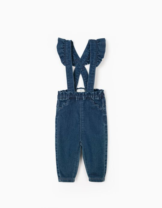 Trousers-Dungarees for Baby Girls 'Comfort Denim', Blue