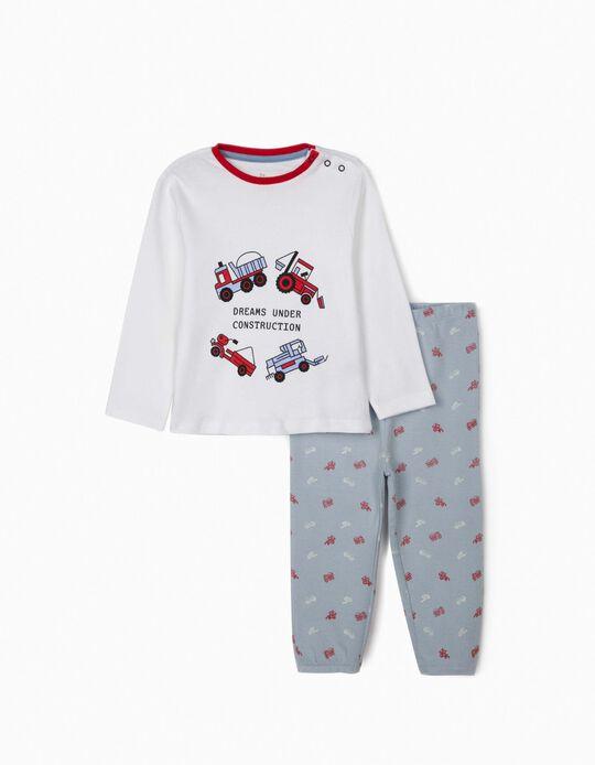 Pyjamas for Baby Boys, 'Dreams under Construction', White/Blue