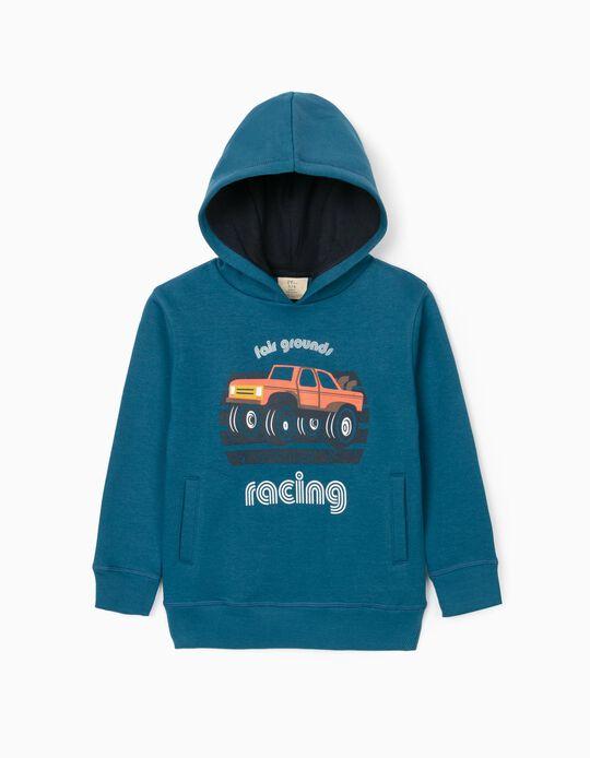 Sweat-Shirt Garçon 'Racing', Bleu Turquoise