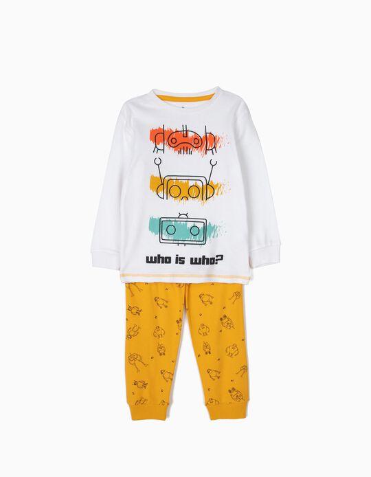 Pijama para Niño 'Robots', Blanco y Amarillo